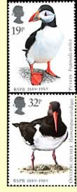 Puffin and Oystercatcher on UK postage stamps